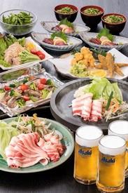 「ビア黒豚大皿プラン」 生ビール飲み放題+大皿料理7品 【税込4,500円】