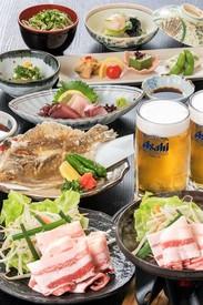 「ビア黒豚会席プラン」 生ビール飲み放題+会席料理7品 【税込5,000円】